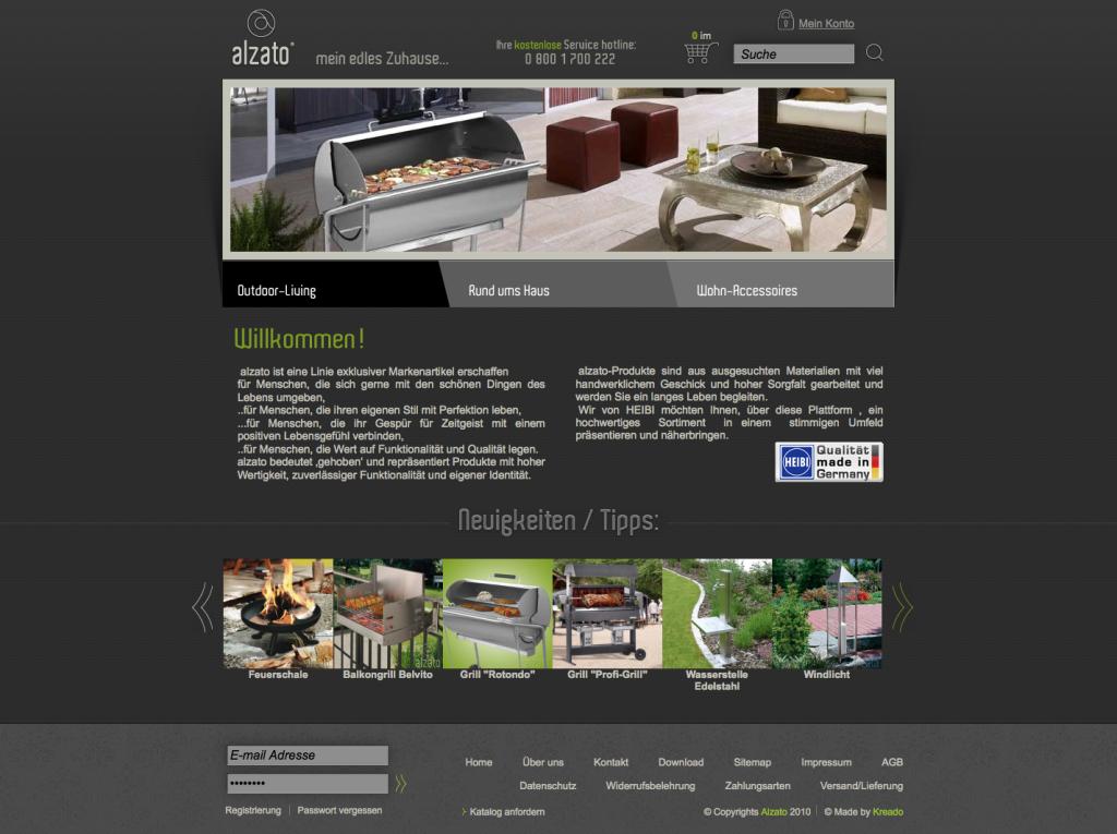 Startseite des Online Shops Alzato