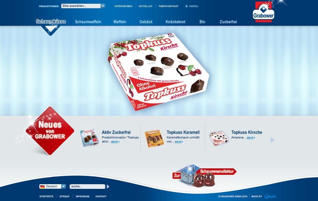 Startseite Grabower Süßwaren Website (made by Internetagentur Kreado)
